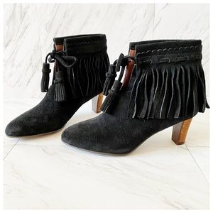 See By Chloe Irina Suede Fringe Ankle Boots Black